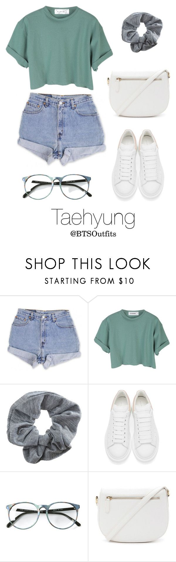 """""""Concert with Taehyung"""" by btsoutfits ❤ liked on Polyvore featuring Levi's, Topshop, Alexander McQueen and Forever 21"""