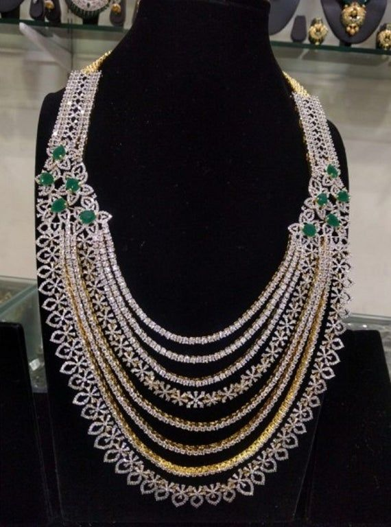 American Diamonds Necklace – 8 Layered Long Haaram with Emeralds (1gm Gold) – Wedding Jewelry -Bridal Necklace-Bridal Jewelry-Indian Jewelry
