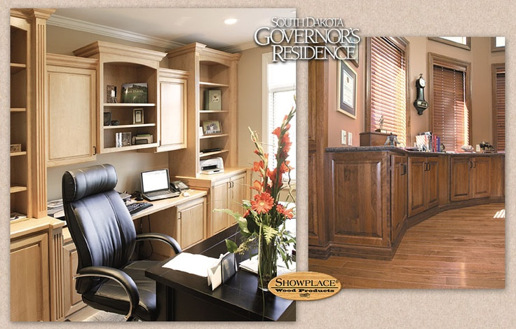 The family office, used by First Lady Jean Rounds, offers a more casual, homey feeling (above left). The mitered Woodbury style is both dignified and cheerful in maple Cashmere. A closer look at the governor's office (above right) shows how Showplace cabinets were positioned to run the arc of the wall, and trimmed with a handsome base molding treatment. Please visit http://www.showplacewood.com/ to learn more.