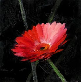Click Here to Bid   This is my second try of painting a red daisy. This flower is not as picturesque as a sunflower or a rose, but I get s...