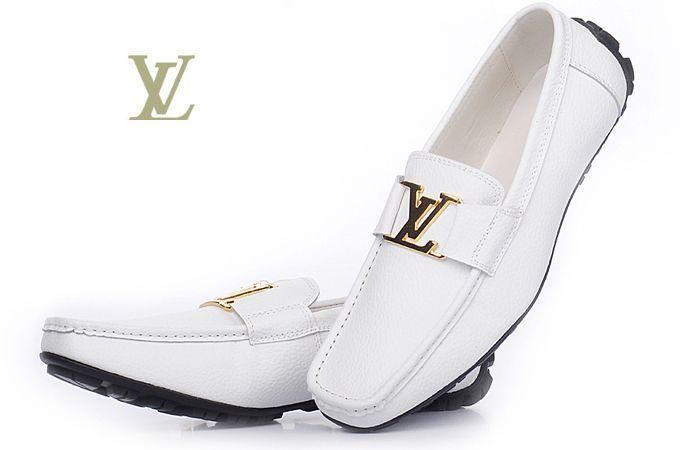 Louis VuittonWHITE   Shoes for Men | April 15, 2011 Louis Vuitton white color with gold lv logo leather men ...