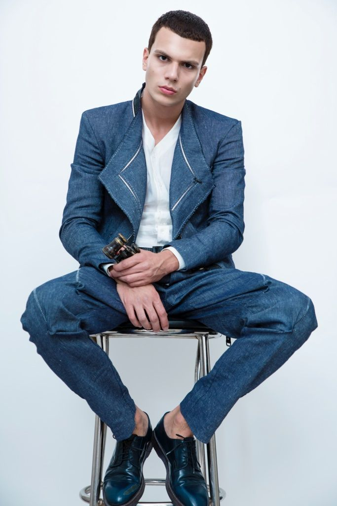 Cristi Isofii, greek male model, with nice dsquared suit