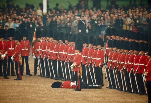 Les gardes irlandais impassibles après l'évanouissement de l'un d'entre eux (Juin 1966)