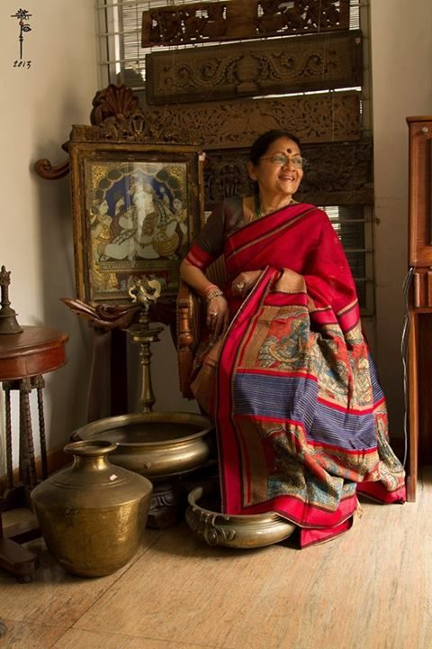 Mora Handloom Saree with Kalamkari Pallu