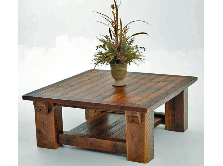 reclaimed wood coffee table square #1