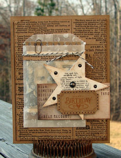 Male Birthday Card - using a shopping bag + supplies used is on the post.