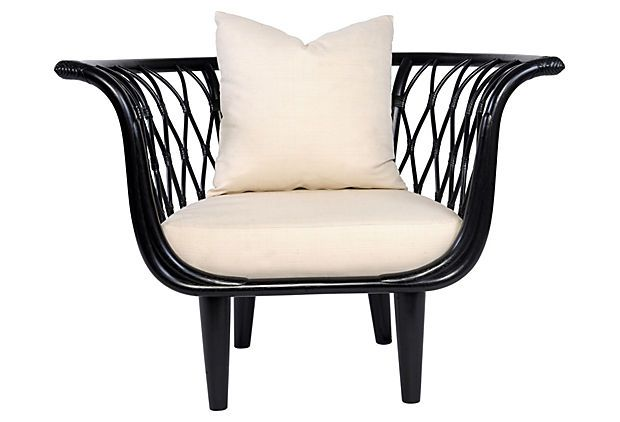 Amsterdam Bucket Chair, Black on OneKingsLane.com A rattan-inspired interpretation of a classic Eames piece, this bucket chair features a satin black finish and white cushions.