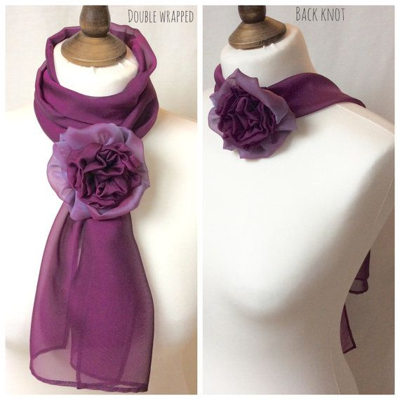 Berry flower scarf lightweight and sheer with by BlueLilyMagnolia