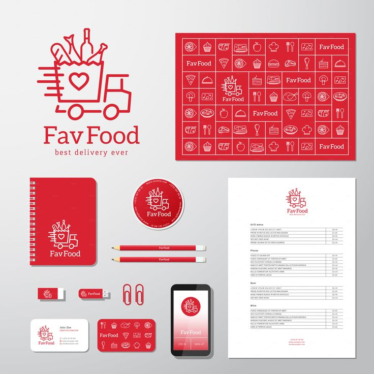 Favorite Food Logo and Stationary by createvil #graphics Favorite #Food Delivery…