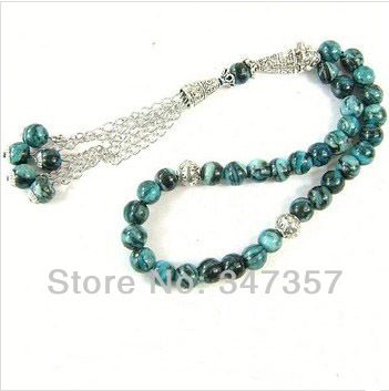 New Design AAA Natural Malachite Stone Round Shape 33 Prayer beads Islamic Muslim Tasbih Allah  free shipping