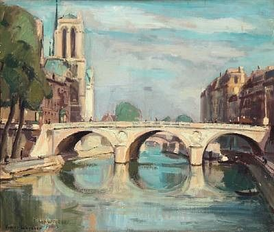 View from Paris with the Seine and Notre Dame by Einar Wegener