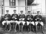 1st Bn, Wiltshire Regiment - A black and white photograph showing those officers of the Battalion who formed part of the 2nd Mounted Infantry at Harrismith, South Africa, 1910