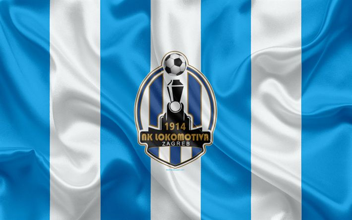 Download wallpapers NK Lokomotiva Zagreb, 4k, Croatian Football Club, emblem, logo, football, flag, HNL, Croatian First Football League, Zagreb, Croatia