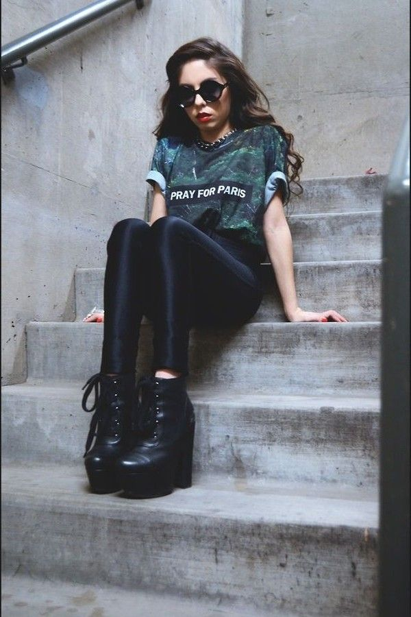 T-shirt: pleather leggings black ankle boots pray for paris baggy tshirt ankle booties boots, black,
