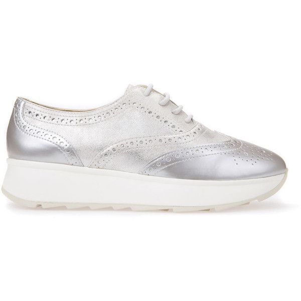 Geox Gendry (455 PEN) ❤ liked on Polyvore featuring shoes, sneakers, silver, trainers & slip on, pull on sneakers, silver shoes, geox sneakers, geox shoes and slip on sneakers