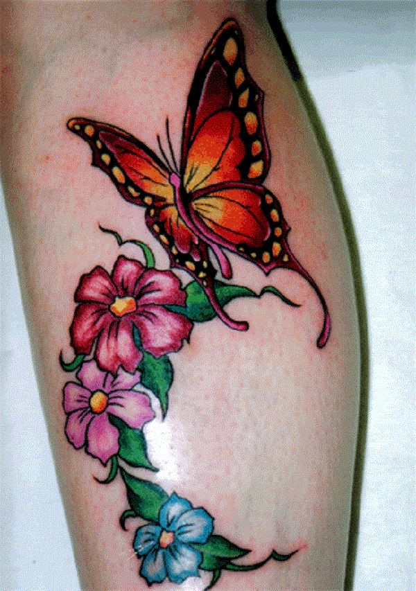 Heart Flower Tattoo Designs For Wrist: 50 Butterfly Tattoos With Flowers For Women