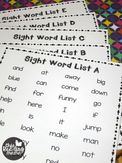 5 free printable sight word lists ~ from Dolch + Fry Lists | This Reading Mama