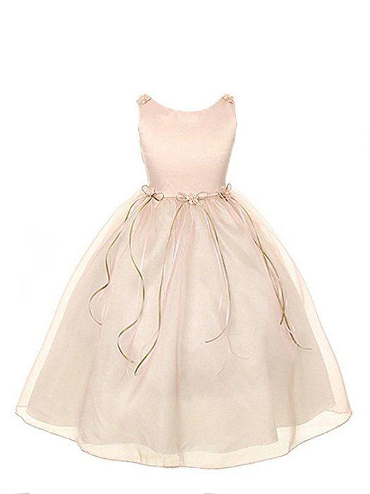 GEORGE BRIDE Blumenmaedchenkleid Blumenmaedchenkleider Kinder Rock Maedchenrock Brautjungfern kleider Abendkleid 0049,4years,rosa
