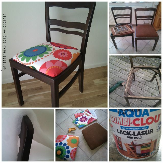 Stühle Im Wohnzimmer Dunkelbraun Streichen Und Mit Roten Stoff Neu Beziehen