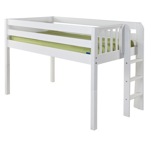 Low loft bed with stairs on the side; find building plans and add trundle beneath