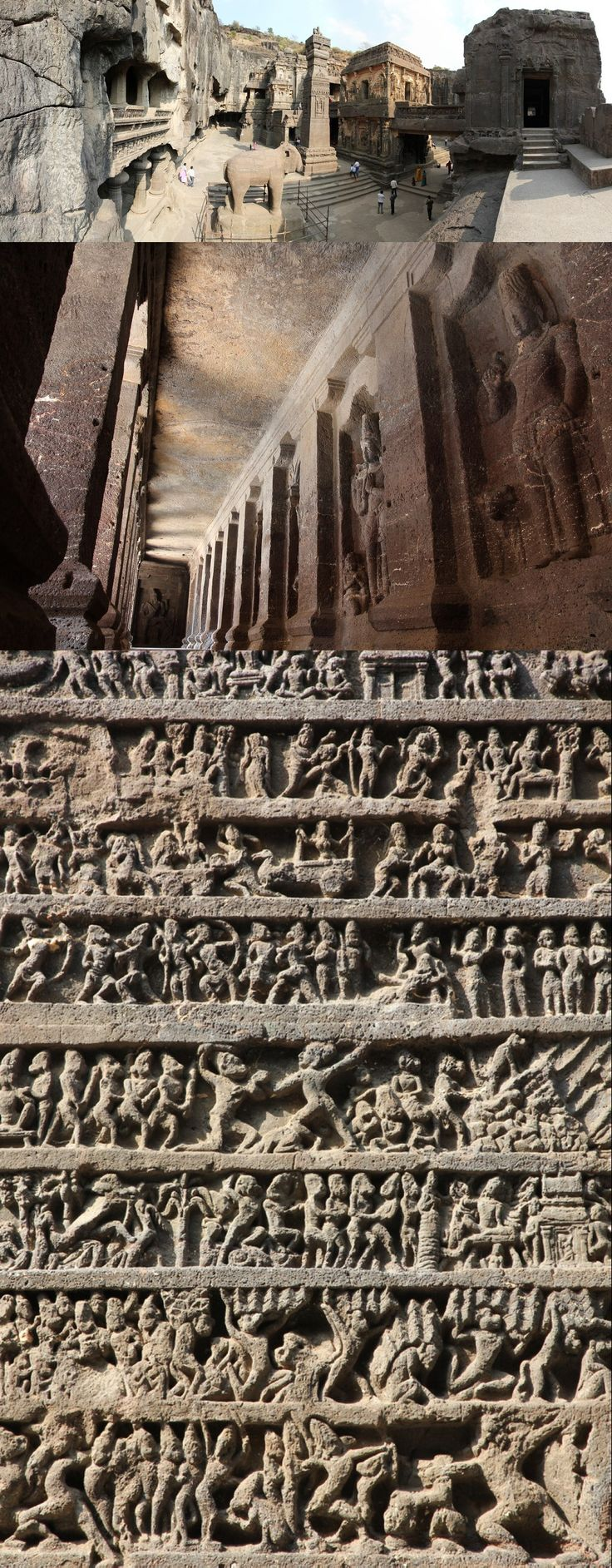 via Ancient Art http://ancientart.tumblr.com/post/124786321643/kailash-temple-ellora-caves-india-dated-from -------   Kailash Temple, Ellora Caves, India, dated from 600 to 1000 AD. There are 34 major caves at Ellora -Cave 16, as shown here, is the Kailasa Temple, a masterpiece of rock-cut architecture and sculpture.  Photos courtesy of Kirk Kittell https://www.flickr.com/photos/kittell/sets/72157627113035735 .