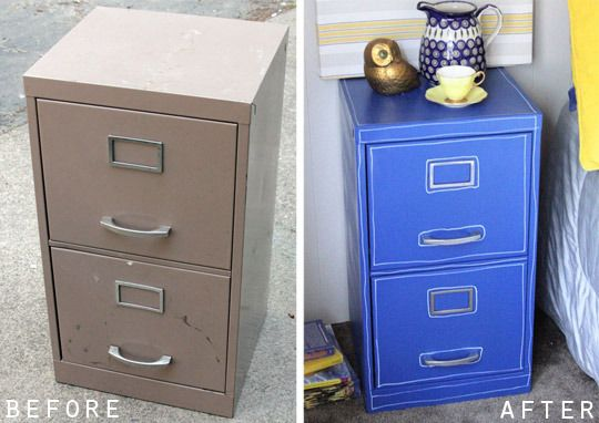 Spray painted file cabinet in a cute color