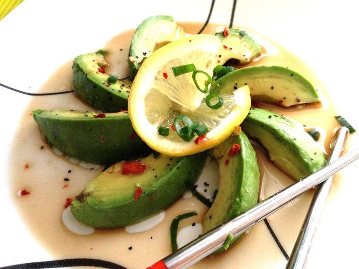 Easy Avocado Snack with Lemon Soy Dressing