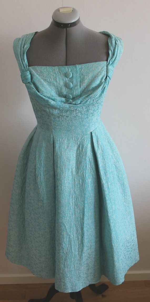 Vintage 50s dress women 50s dress Turquoise by Lovelievintage