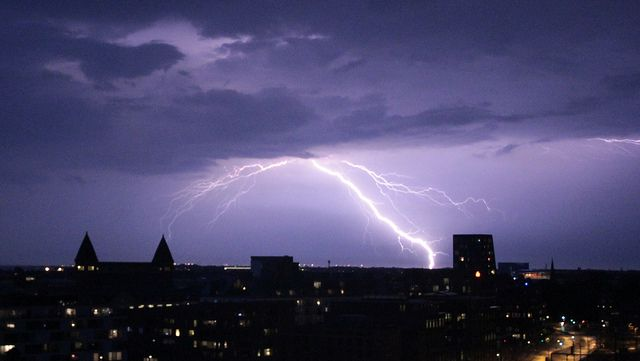 Amager, Denmark during lightning weather.