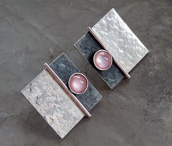 These contemporary square studs with Pink Mother of Pearl are completely hand made in sterling silver. They have been textured, partially oxidized
