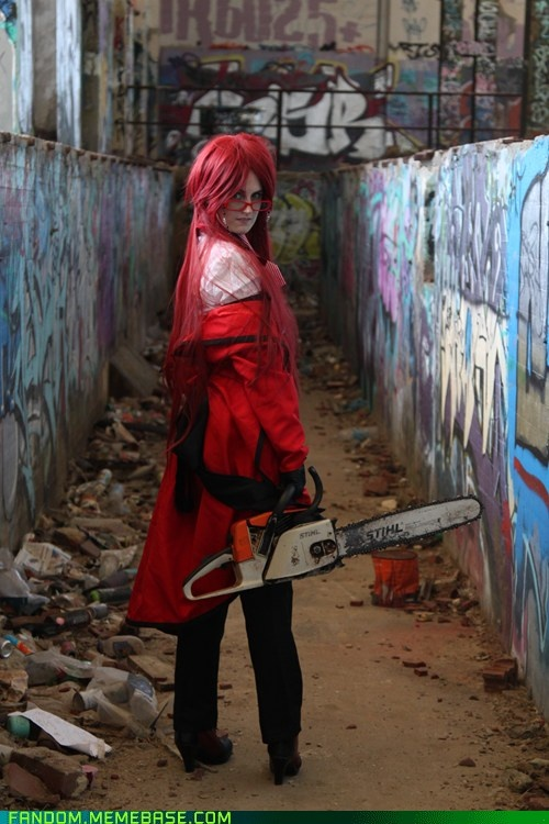SDSFFG. Best Grell cosplay. And look!, a REAL death scy- er, I mean chainsaw... xD