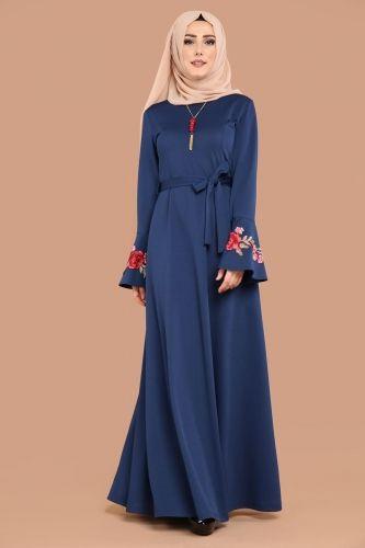 ** YENİ ÜRÜN ** Gül Güpürlü Elbise İndigo Ürün kodu: PRM3032 --> 59.90 TL
