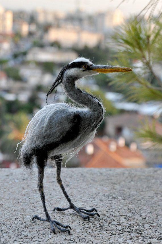 Needle Felted Bird. Grey heron. by darialvovsky on Etsy