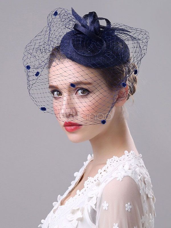 Vintage Wedding Fascinator Royal Birdcage Veil Ink Blue Bridal Headpieces e0bfedb61dd