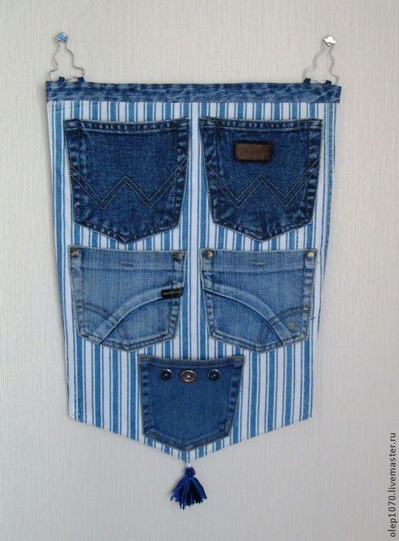 Купить Настенные джинсовые карманы - карманы, карманы для мелочей, настенные карманы, тканевый органайзер