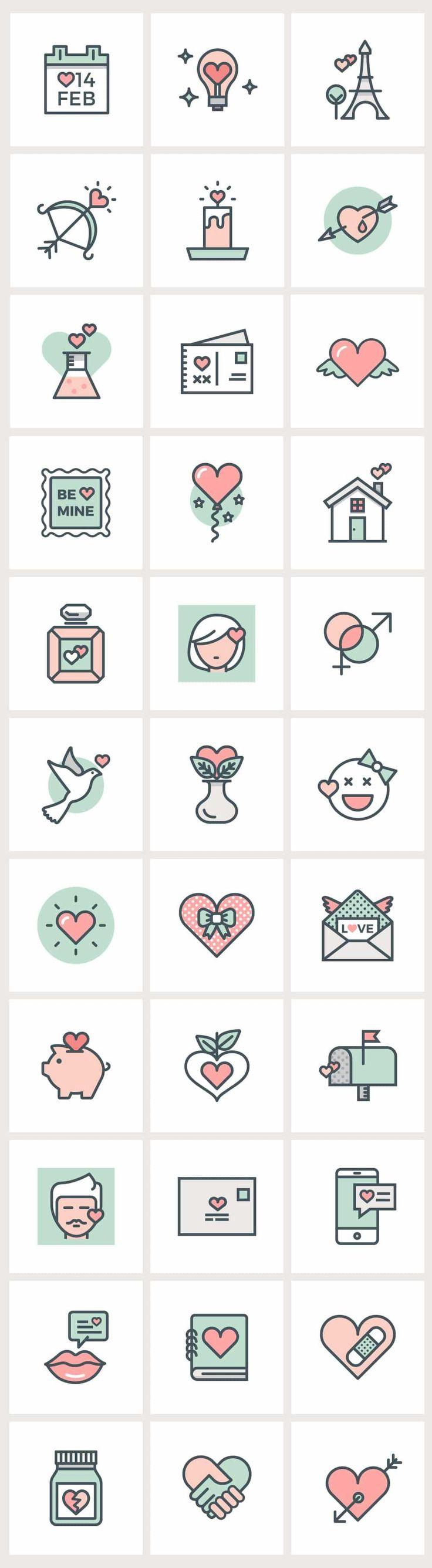 Valentine Flat Line Icons Icon Design Doodle Icon Illustration Design