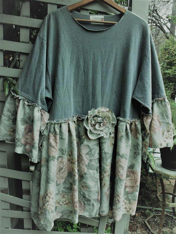 1X Tunic/ Cotton Tee Rose Print Dress/ Upstyled Tee Shirt Tunic/ Romantic Rose Embellished Tunic/ Sheerfab Funwear