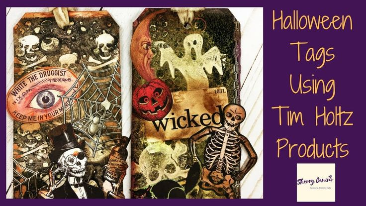 Halloween Tags using Tim Holtz and Ranger Ink Products
