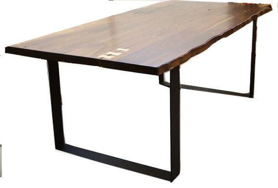 Walnut  dining table Live edge with Flat iron legs, Walnut natural edge look, unique dining table, walnut slab look affordable