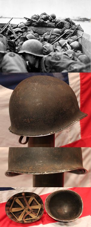 A Good US Army M1 Helmet WW2 1941-44. Early Front Seam Type lacking loops, with liner. The M1 helmet is a combat helmet that was used by the United States military from World War