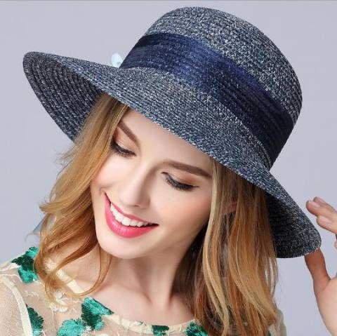 Flower bucket hat for women mesh bow straw sun hats