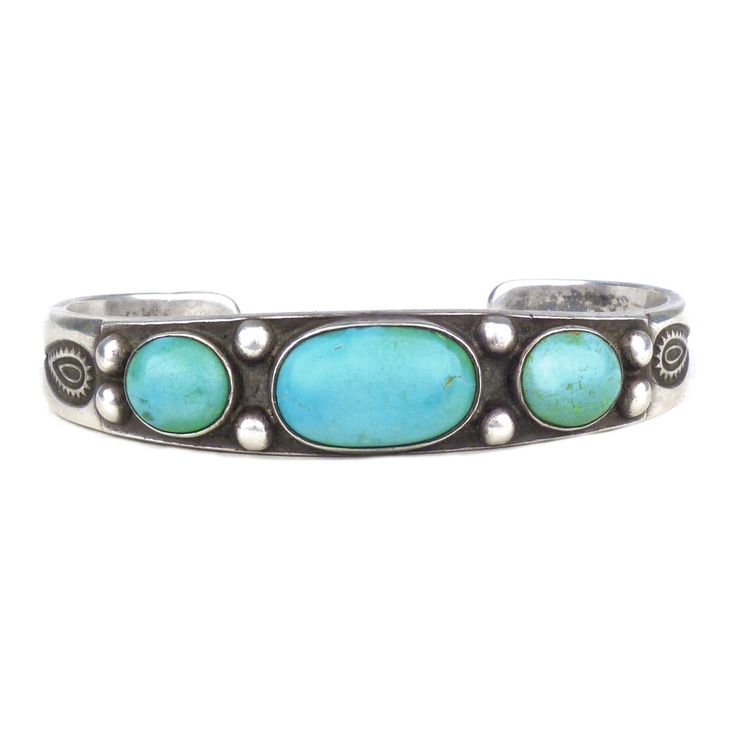 Navajo Stamped Silver Ingot Bracelet with Three Turquoise Cabochons, c.1930   Shiprock Santa Fe