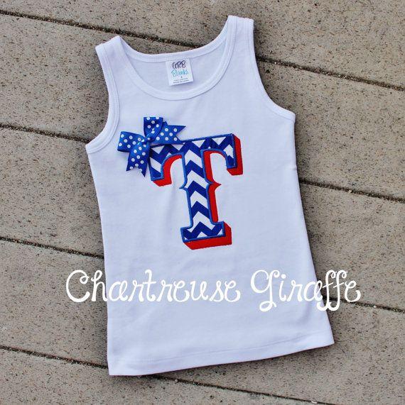 Texas Ranger Inspired Baseball Girls tank top sleeveless Shirt. Blue Chevron Texas Rangers on Etsy, $22.00