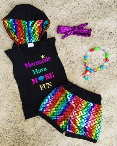 """""""Mermaids Have More Fun"""" Rainbow Short Set   Sparkle in Pink"""