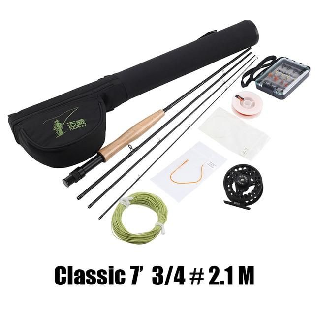Maxway Fly Fishing Kit 7 8 9 10ft 4 Sections Fly Fishing Rod Reel Line Bag Biat For Lake River Fishing Tackle Combo Fly Fishing Line Fly Fishing Kit Fly Fishing Rods
