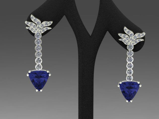 Trillion cut tanzanites and diamond earrings. #White gold earrings #diamond earrings #tanzanite jewels , from Luxedogems.com