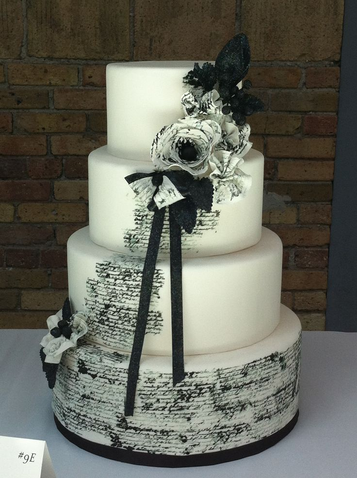 Black and white cake... Add a staff and music notes... Like your wedding song.  Ingenious!!!!
