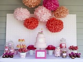 love the cake with the candy table and i must have these paper poms i keep seeing