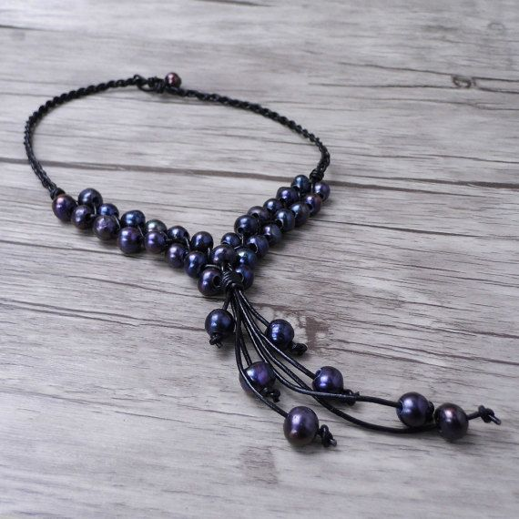Real Pearl necklace black pearl necklace 10mm freshwater pearl