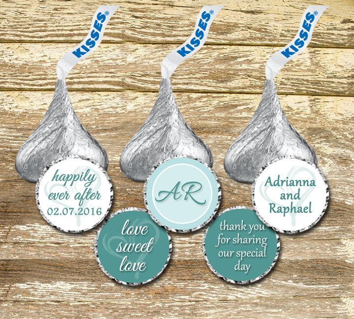 Hershey Kisses Stickers - Light Blue White Wedding, Personalized Hershey, Hershey Kisses Wedding, Blue and White Wedding,Monogram Wedding by LittlePrintsOttawa on Etsy